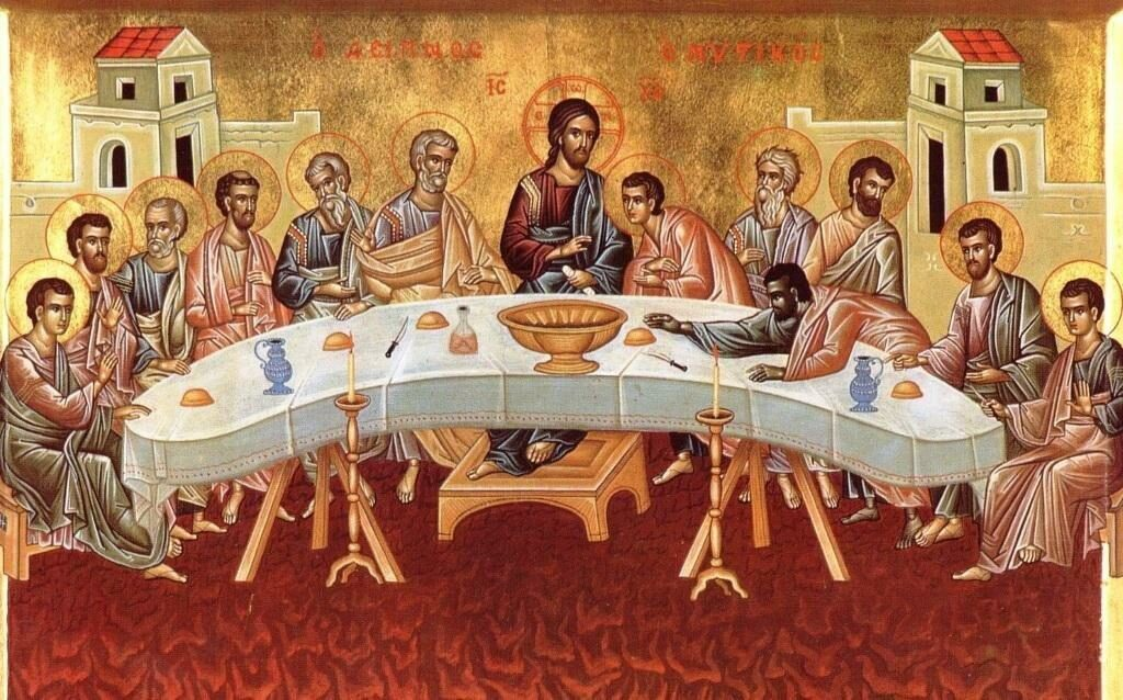 Таинство причастия на тайной вечере Христа со своими учениками